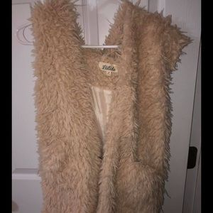 Cream Long faux fur Vest